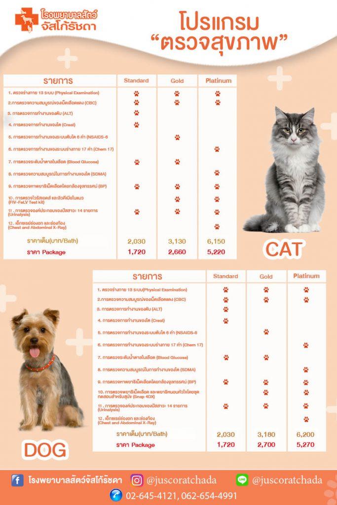 โปรแกรมตรวจสุขภาพสุนัขและแมว